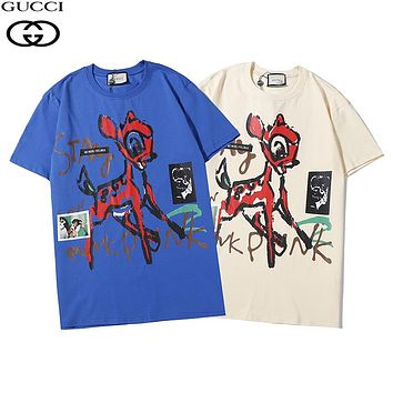 Gucci new short-sleeved sika deer chest print fashion men's and women's T-shirt