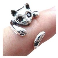 Sweet Kitty Cat Wrap Around Animal Ring For Woman