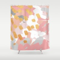 Neutral Golden Abstract Shower Curtain by Allyson Johnson | Society6