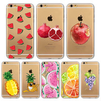 Cover For Iphone 6 6s New Delicious Watermelon Cherry pineapple Pattern TPU Soft Phone Back Case Fruit Case