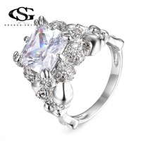 GS Ghost Evil Skull Skeleton Had Geometric Square CZ Rings For Women Men Punk Style 2018 Halloween Gift Jewelry Dropshipping G5