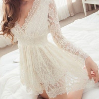 White Floral Lace V-Neck Mini Dress