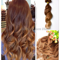Balayage Ombre Hair Extensions,Caramel Brown Honey Brown Highlights Human Hair Extensions, Double Wefted Dip Dye Fade,3 bundles hair weft