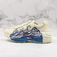Gucci Rhyton Leather Sneaker With Wave - Best Online Sale