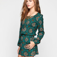 Patrons Of Peace Tile Womens Romper Teal Blue  In Sizes