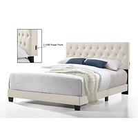 Full Beige Tufted Bed With USB Connection