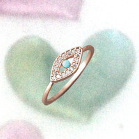 Turquoise  Evil Eye Ring (3 color) in rose gold.
