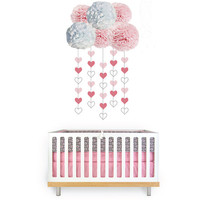 5 pom poms cloud and heart garland baby's room, baby shower or party decor in pink, yellow or blue