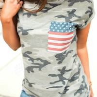 Green Camo American Flag Print Pockets Cargo Independence Day Casual T-Shirt