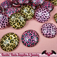 6 pc CHEETAH GLASS DOMES Cabochon / Animal print Decoden Flatback Cabochons 20mm