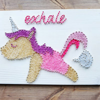 Colorful and fun farting unicorn wall decor for girly girls, anyone who is a unicorn or yoga lover, gift for yogi, yoga pose decoration