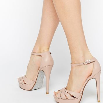 Dune Miko Blush Leather Platform Sandals