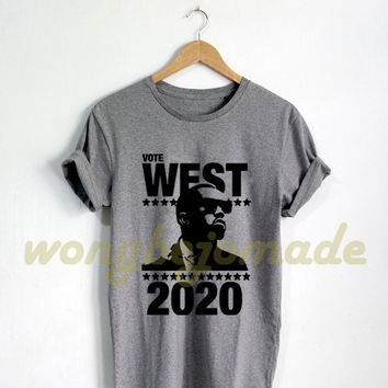 West 2020 Shirt Yeezus Tshirt Grey and White Color T-Shirt