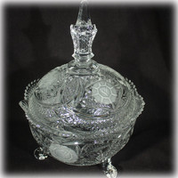Uncommon Hofbauer Crystal, Hofbauer Rose, Candy Dish, Crystal Candy Dish, Candy Dish With Lid, German Crystal, Mid Century