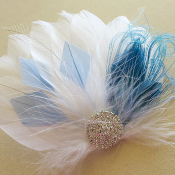 Wedding Feather Hair Accessories, Feather Fascinator, Bridal, Hair Accessory, 1920s, Peacock,Blue, White, Great Gatsby, Hair Clip