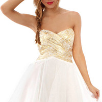 Gold With Envy Dress - Gold/Ivory