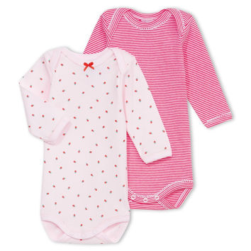 Petit Bateau Baby Girls Set of Two Pink Rompers