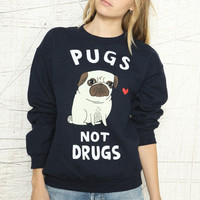 """Urban Outfitters  - """"Pugs Not Drugs"""" Pullover"""