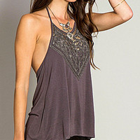 O'Neill Dya Crochet-Neck Halter Top - Graphite