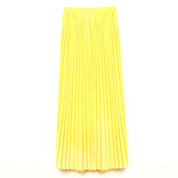 Summer Women Candy Color Double Layer High Waist Long Pleated Maxi Pleated Skirts