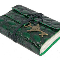 Embossed Green Leather Journal with Winged Clock Key Bookmark
