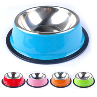 Colorful Stainless Steel Dog Feeding Bowl Cat Puppy Food Dish Pet Drink Water Bowl Non Slip Pink Red Blue Colors Sizes XS-XXL