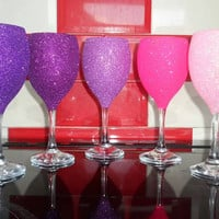 Set of 5 Shades of Purple to Pink Glitter Wine Glasses