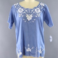 Vintage Chambray Blue Mexican Embroidered Tunic Blouse