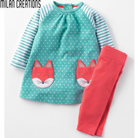 Girls Clothes Children Clothing 2017 Brand Toddler Girl Clothing Sets Roupas Infantis Menino Character Striped Kids Clothes