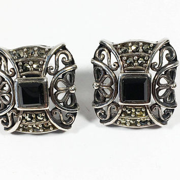 Sterling Silver Marcasite Studs, Square Shaped Black Gemstone Posts, Vintage Art Deco Style Filigree and Marcasite Earrings