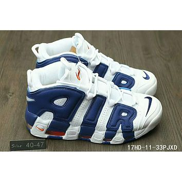 Nike Air More Uptempo trendy men and women large AIR Sneakers F-HAOXIE-ADXJ White + blue letters