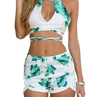 Women's Floral Sexy Halter Backless Crop Top and Shorts 2 Pieces Set