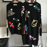 GUCCI Colored patterned knitwear sweater women's long sweater