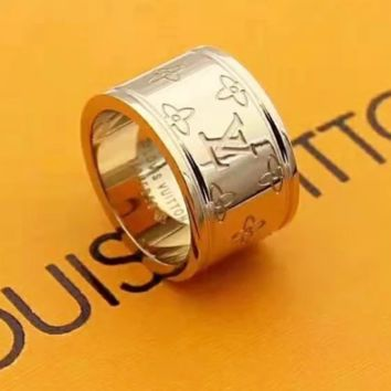 Louis Vuitton LV New Fashion Letter Women Men Ring Accessories Rose Gold