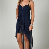 Spaghetti Strap Dress with Crisscross Body and Flyaway High Low Skirt