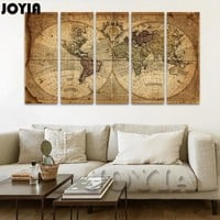5 Piece Canvas Art Print Vintage Home Decor World Map Painting Calligraphy Brawn Old Map of The World Retro Pictures (No Frame)
