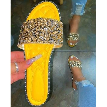 Summer women's shoes new sequins fashion flat slippers sandals Yellow