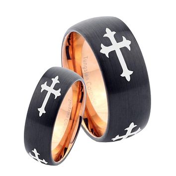 His Hers Christian Cross Religious Dome Tungsten Rose Gold Mens Wedding Band Set