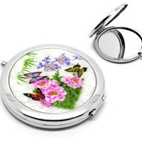 """1PC Butterfly Pattern Make Up Compact Mirror (3""""x2-3/4"""") (Size: 7.7cmx7cm, Color: Multicolor) = 1705764740"""