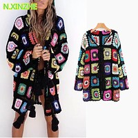 2018 women clothing long sleeve hooded multicolor floral hand knitted sweaters long Tops Female bohemian loose cardigans coat