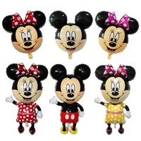 112CM Giant Mickey Mouse Minnie Balloons 10 Pcs Mickey Minnie Balloon Stick for Birthday Party Decorations Kids Party Supplies