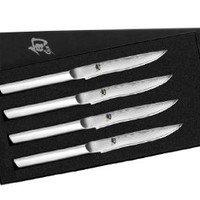 Shun MHS0400 Stainless Steel Steak Knife Set, 4-Piece