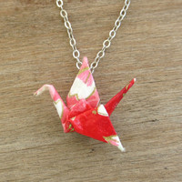 Pink & Red Origami Crane Necklace, Pink Necklace, Cute Necklace, Origami Crane Jewelry, Kawaii Necklace, Kawaii Jewelry, Valentine Necklace