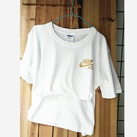 Women Men NIKE golden hook Leisure sports short-sleeved cotton T-shirt White