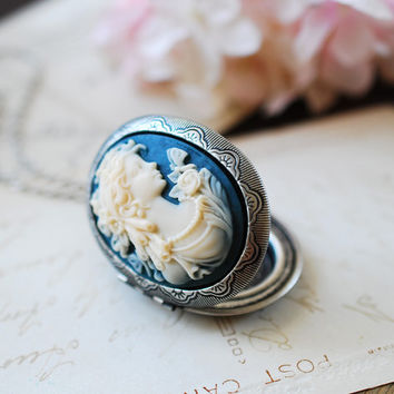 Large Cameo Locket Necklace.  Azure Blue Ivory Lady Cameo Antique Silver Oval Locket Necklace, Victorian Vintage Inspired