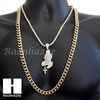 "PRAYING HANDS CHARM 16""-30"" TENNIS CHAIN 30"" CUBAN CHAIN NECKLACE G23"