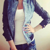 Leather Long Sleeve Denim Jacket