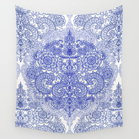Happy Place Doodle in Cornflower Blue, White & Grey Wall Tapestry by Micklyn
