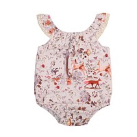 born Baby Girls Clothes Sleeveless Deer Romper Lace edge Jumpsuit Sun-suit Outfits 0-18M