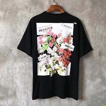OFF-WHITE Woman Men Flower Fashion Tunic Shirt Top Blouse